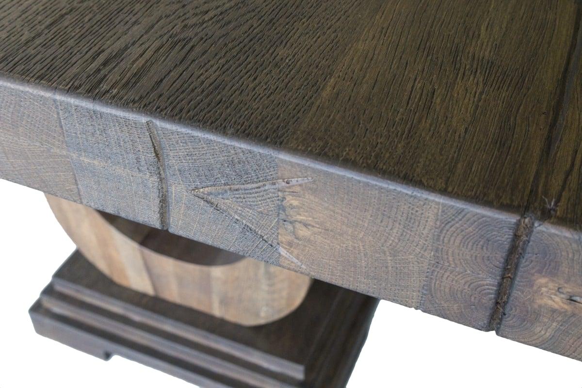 Detailansicht der Tischplatte vom Holz Esstisch Lira