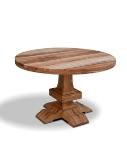 Esstisch Oregon, ein rustikaler runder Holztisch aus massiver Wildeiche