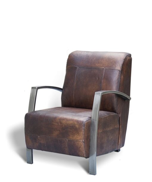 Lounge Chair Latino aus Büffelleder und Stahl in dark brown