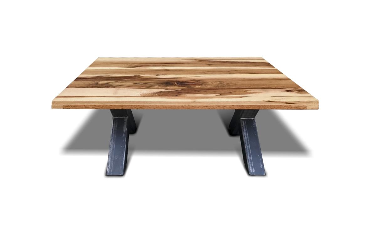 """Couchtisch Big""""X"""" im industrial Style aus Stahl und massiv Holz Wildeiche in der Seitenansicht"""