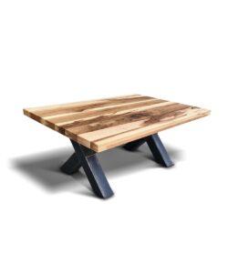 """Couchtisch Big """"X"""" im industrial Style aus Stahl und massiv Holz Wildeiche"""