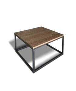 Couchtisch Cubito im industrial Style aus Stahl und massiv Holz Wildeiche