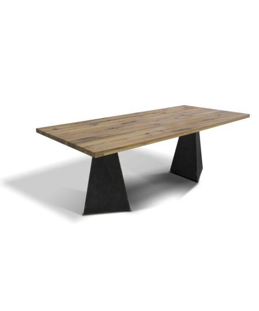 Industrial Stil Esstisch Pharao - Massivholztisch aus Wildeiche und Stahl