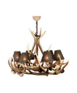 Geweihleuchter Goms, 6-flammiger Leuchter aus echtem Hirschgeweih