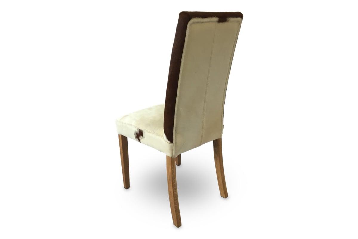 Stuhl Portland, Sitzbezug aus echtem Kuhfell, Füsse aus eiche Natur geölt Rückansicht