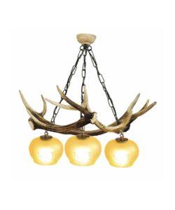 Geweih-Pendelleuchte Meiringen 3-flammig mit Lampenschirmen aus Kristallglas
