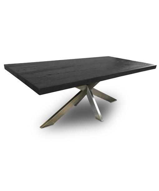 Massivholztisch CROSS Inox - Esstisch aus Holz und Chromstahl im Industrial Stil